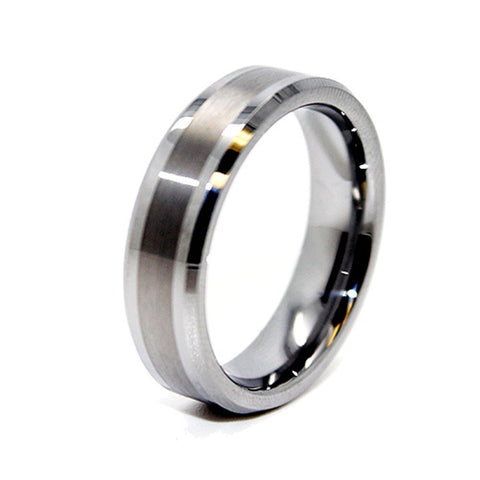 Premium 6mm Tungsten Carbide Mens Ring Promise wedding band Great Satin Center Wedding Band - New Wedding Rings