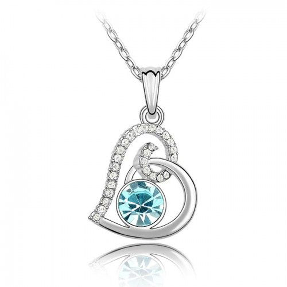 Sparkling Light Blue Colored and Clear Swirled Heart Charm Necklace 120 - New Wedding Rings