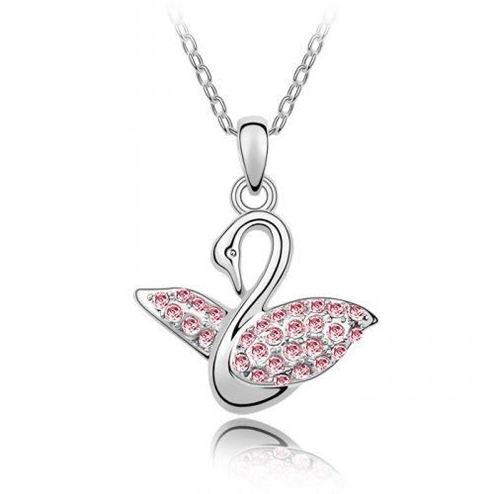 Sparkling Pink Colored Swan Charm Necklace 143 - New Wedding Rings