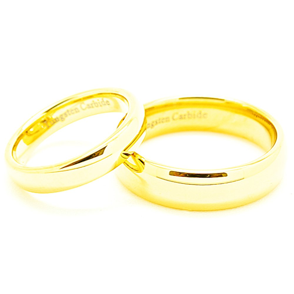 Matching 4mm & 6mm Classic Domed Golden Colored Tungsten Wedding Rings (See listing for sizes) - New Wedding Rings