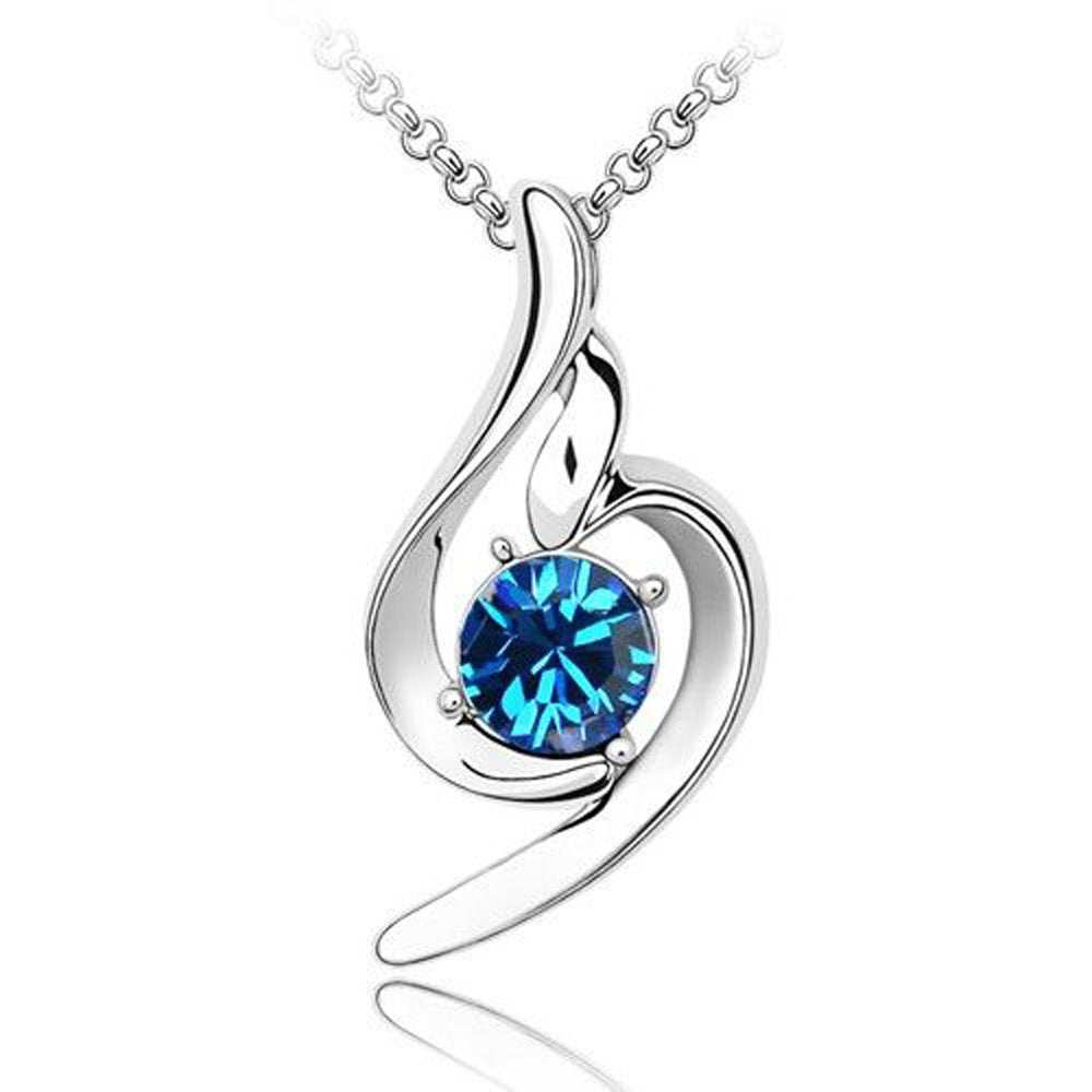 Sparkling Solitaire Blue Colored Charm Necklace 101 - New Wedding Rings