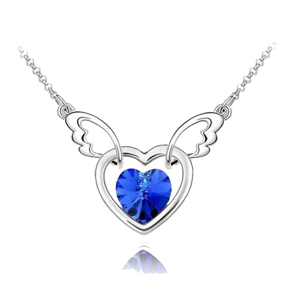 Sparkling Dark Blue Colored Winged Heart Charm Necklace 131 - New Wedding Rings