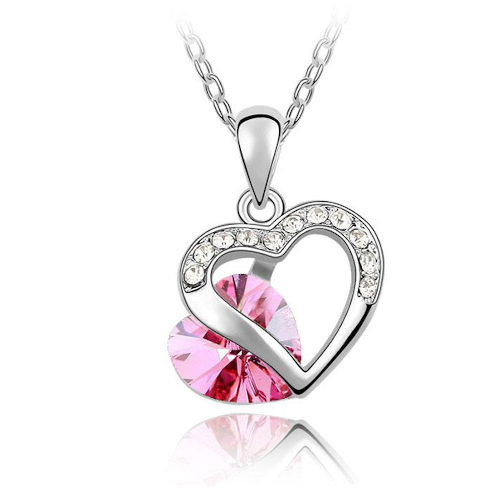 Sparkling Pink Colored and Clear Double Heart Charm Necklace 151 - New Wedding Rings