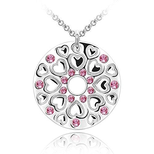 Sparkling Pink Colored Circle of Hearts Charm Necklace 182 - New Wedding Rings