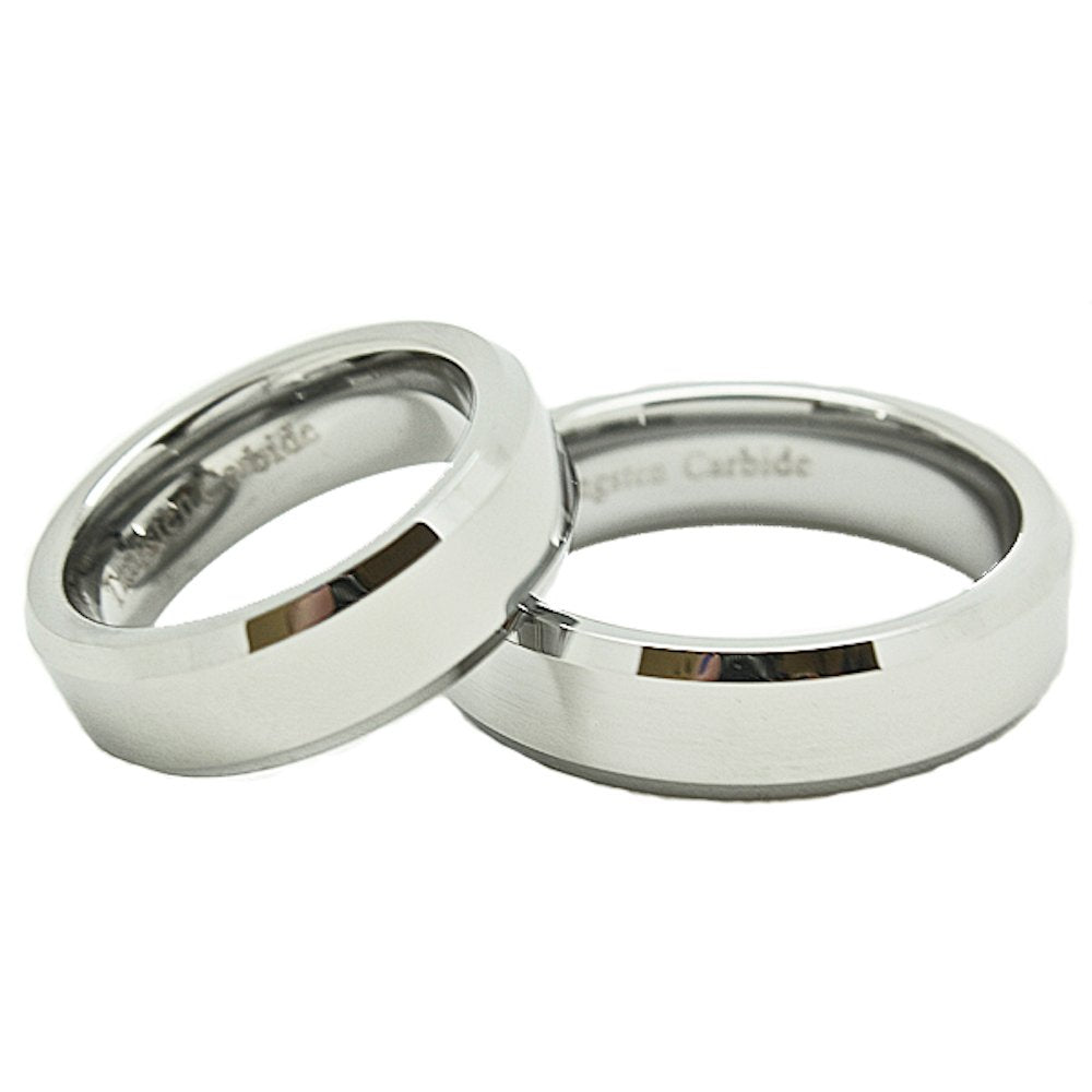 Matching 6mm Classic Flat Tungsten Carbide Wedding Rings set (See Listing for Sizes) - New Wedding Rings