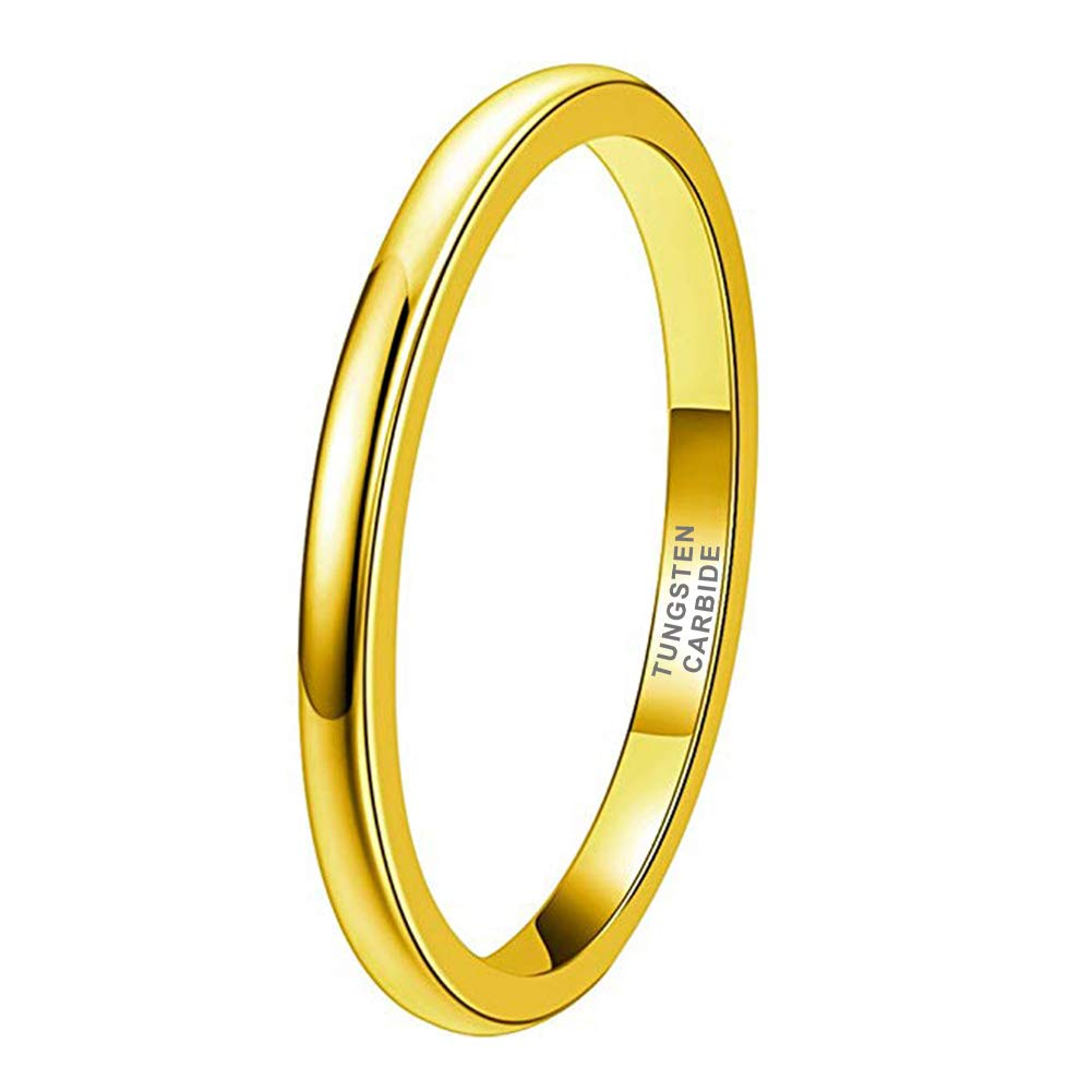 Tungsten Gold 2mm 18K Gold Tungsten Rings for Women Men Wedding Bands Classic Domed Polished Shiny Comfort Fit - New Wedding Rings