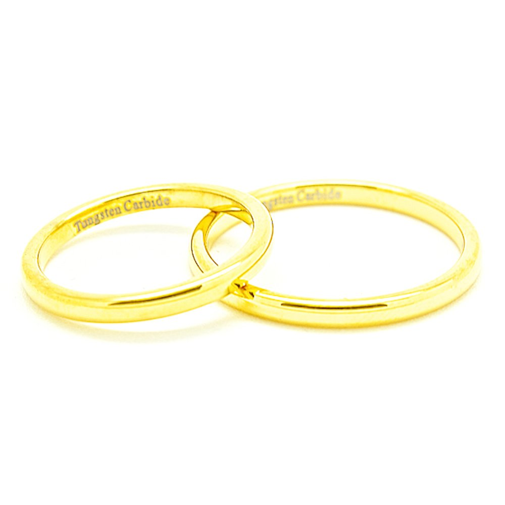 Matching 2mm Classic Domed Golden Colored Tungsten Carbide Wedding Rings Set (See listing for sizes) - New Wedding Rings