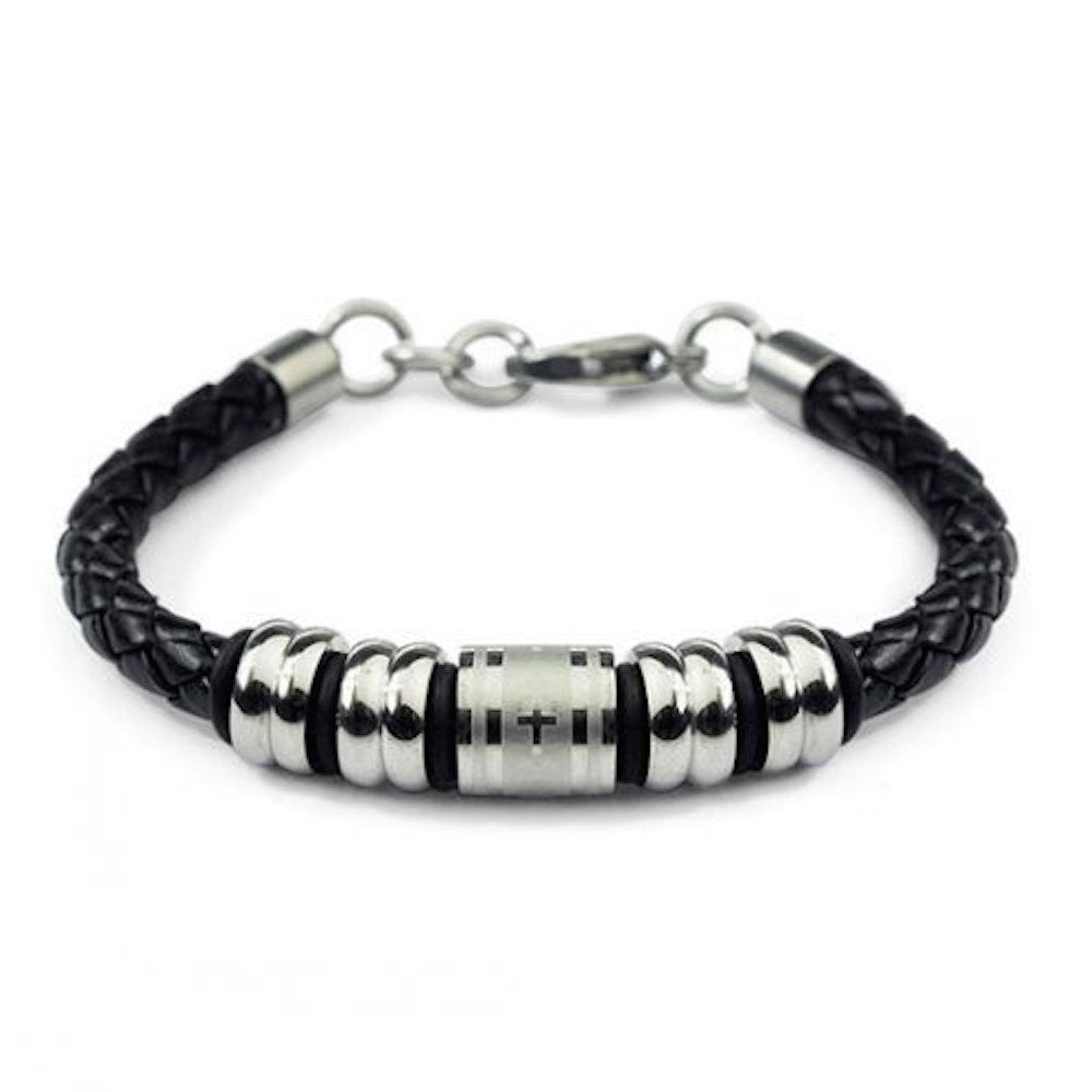 Single Braid Black Leather Bracelet with Laser Etched Cross & 4 Single Grooved Beads L104 - New Wedding Rings
