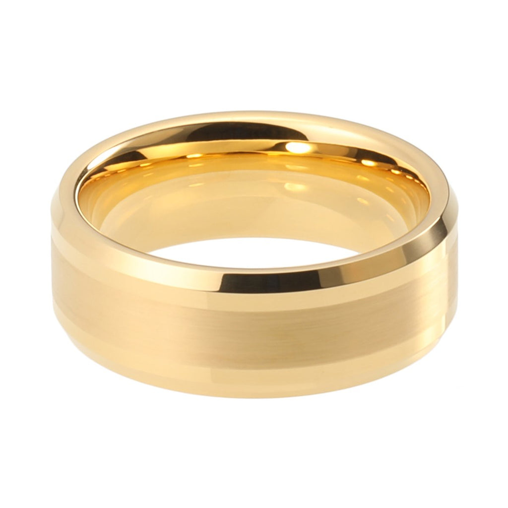 New Wedding Rings 8mm Womens Mens Wedding Bands Gold Plated Tungsten Carbide Rings Fathers Mothers Gift Bridal Jewelry - New Wedding Rings