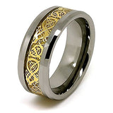 10mm Polished Tungsten Wedding Band with Golden Colored Celtic Dragon Inlay Size 7-17