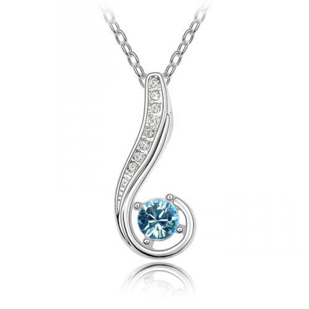 Sparkling Light Blue Colored and Clear Journey Charm Necklace 175 - New Wedding Rings