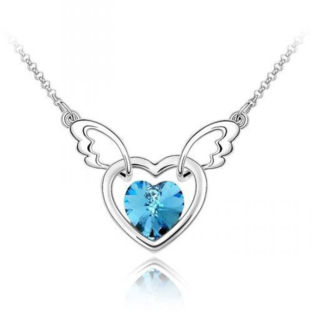 Sparkling Light Blue Colored Winged Heart Charm Necklace 130 - New Wedding Rings