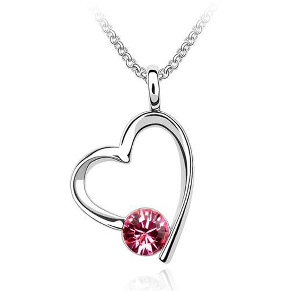 Sparkling Solitaire Pink Colored Heart Charm Necklace 138 - New Wedding Rings