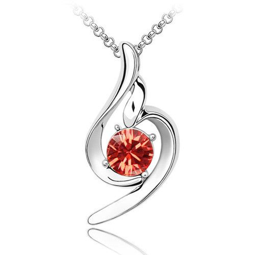 Sparkling Solitaire Red Colored Charm Necklace 132 - New Wedding Rings