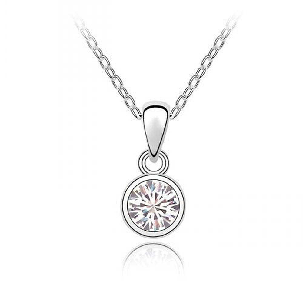 Sparkling Solitaire Clear Charm Necklace 112 - New Wedding Rings
