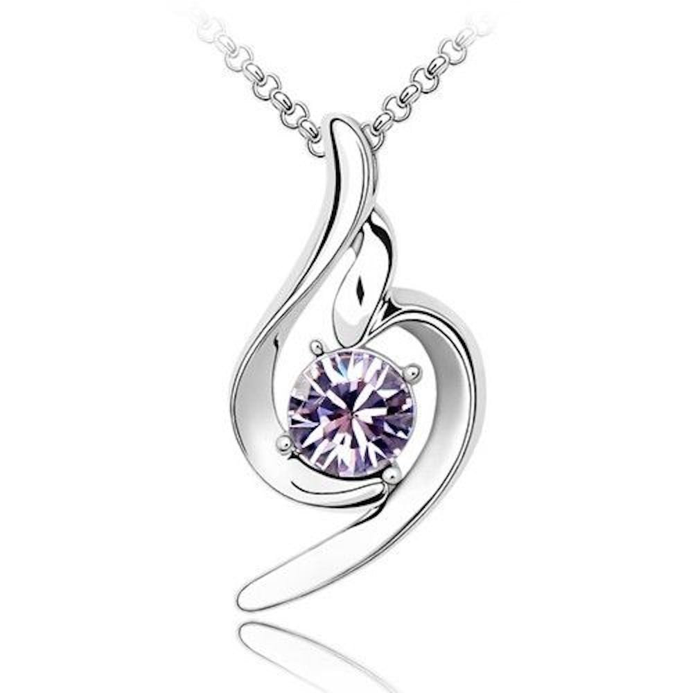 Blue Chip Unlimited Sparkling Solitaire Light Purple Pendant Charm Necklace 185 - New Wedding Rings