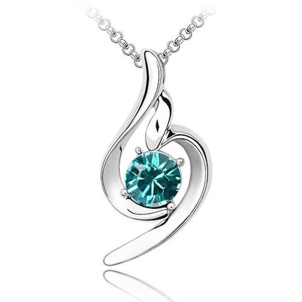 Sparkling Solitaire Blue Green Colored Charm Necklace 184 - New Wedding Rings