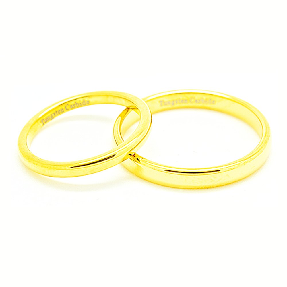 Matching 2mm & 3mm Classic Domed Golden Colored Tungsten Carbide Wedding Rings (See listing for sizes) - New Wedding Rings