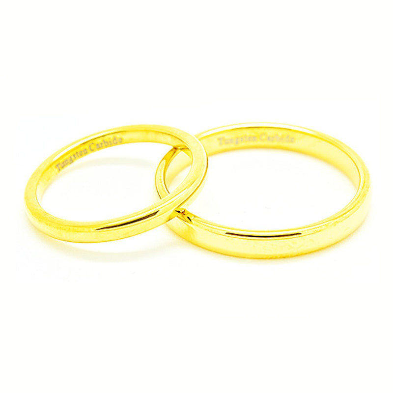 See listing for sizes Matching 2mm /& 4mm Classic Domed Golden Colored Tungsten Wedding Rings