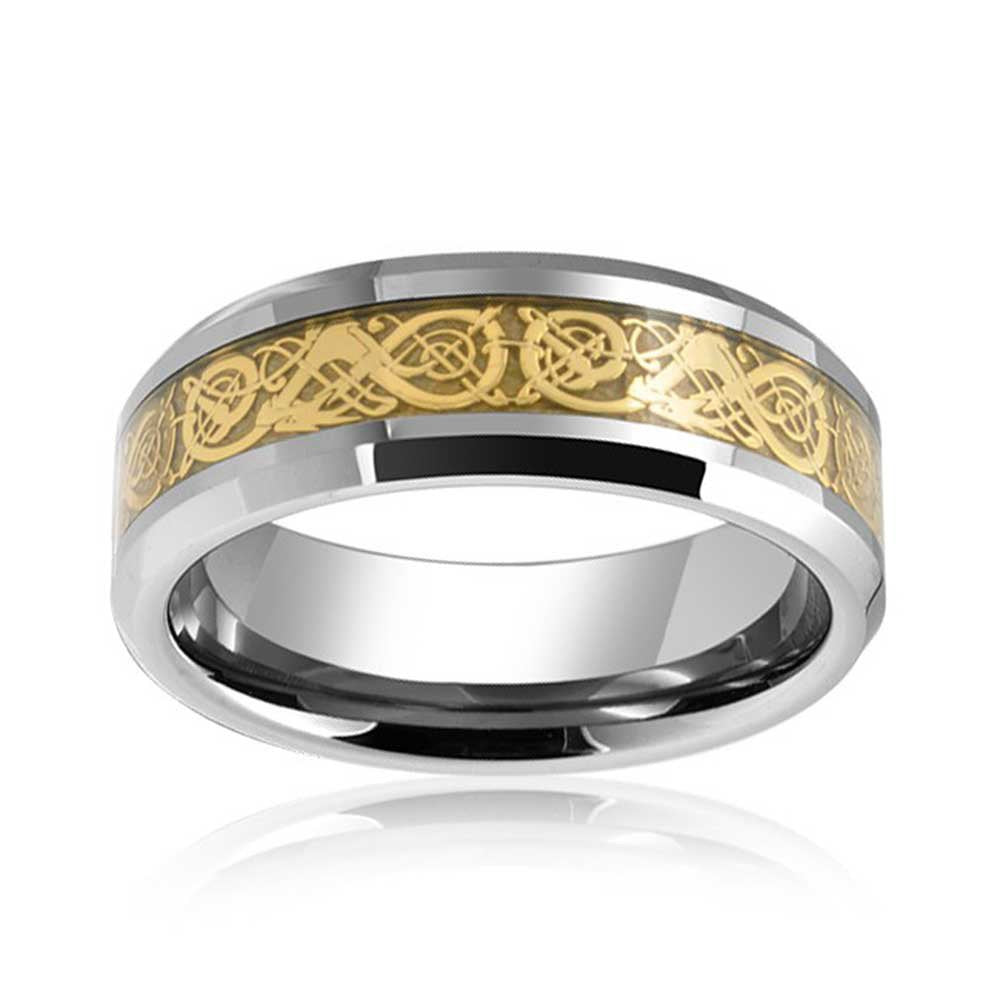 Solid Golden Silver Two Tone Celtic Knot Dragon Inlay Couples Titanium Wedding Band Rings for Men for Women Comfort Fit 8MM - New Wedding Rings