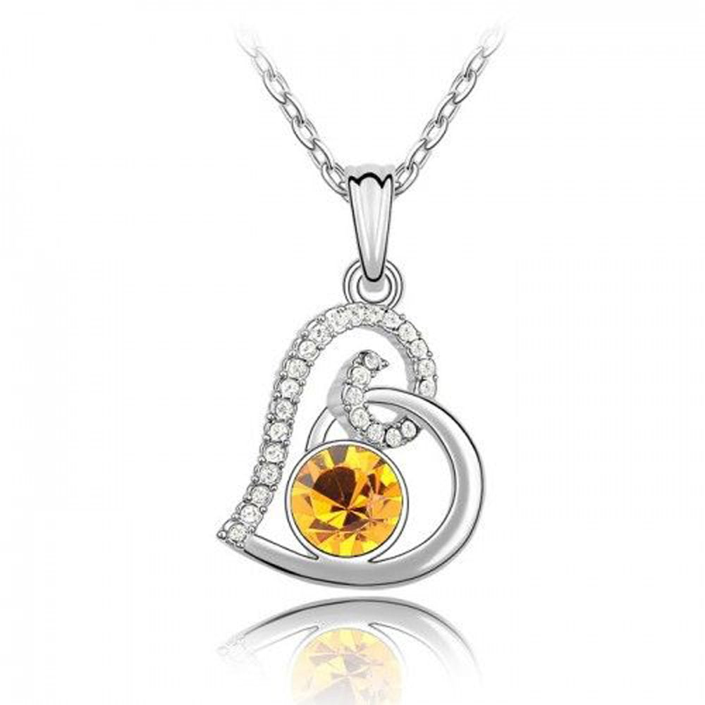 Sparkling Orange Colored and Clear Swirled Heart Charm Necklace 121 - New Wedding Rings