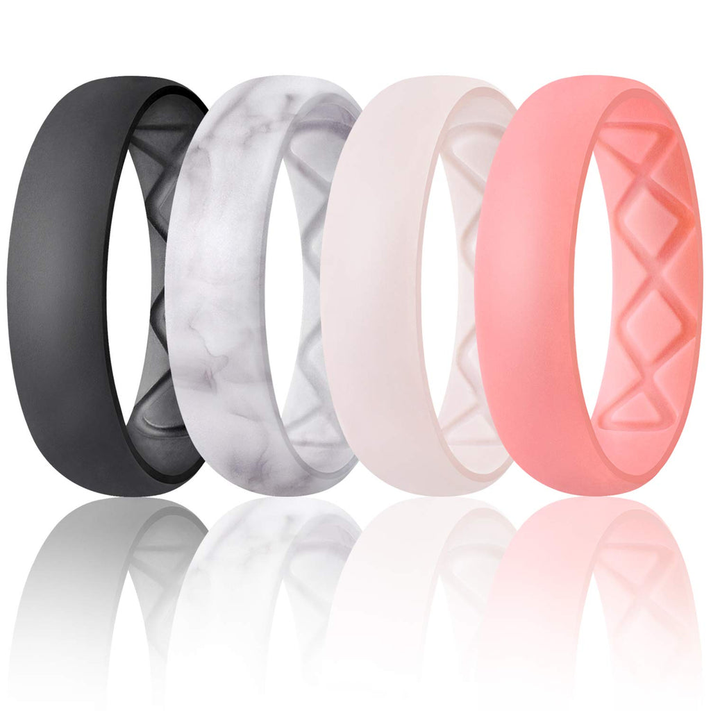 SIlicone Inner Arc Ergonomic Breathable Design, Silicone Wedding Ring for Women, Women's Silicone Wedding Band - New Wedding Rings