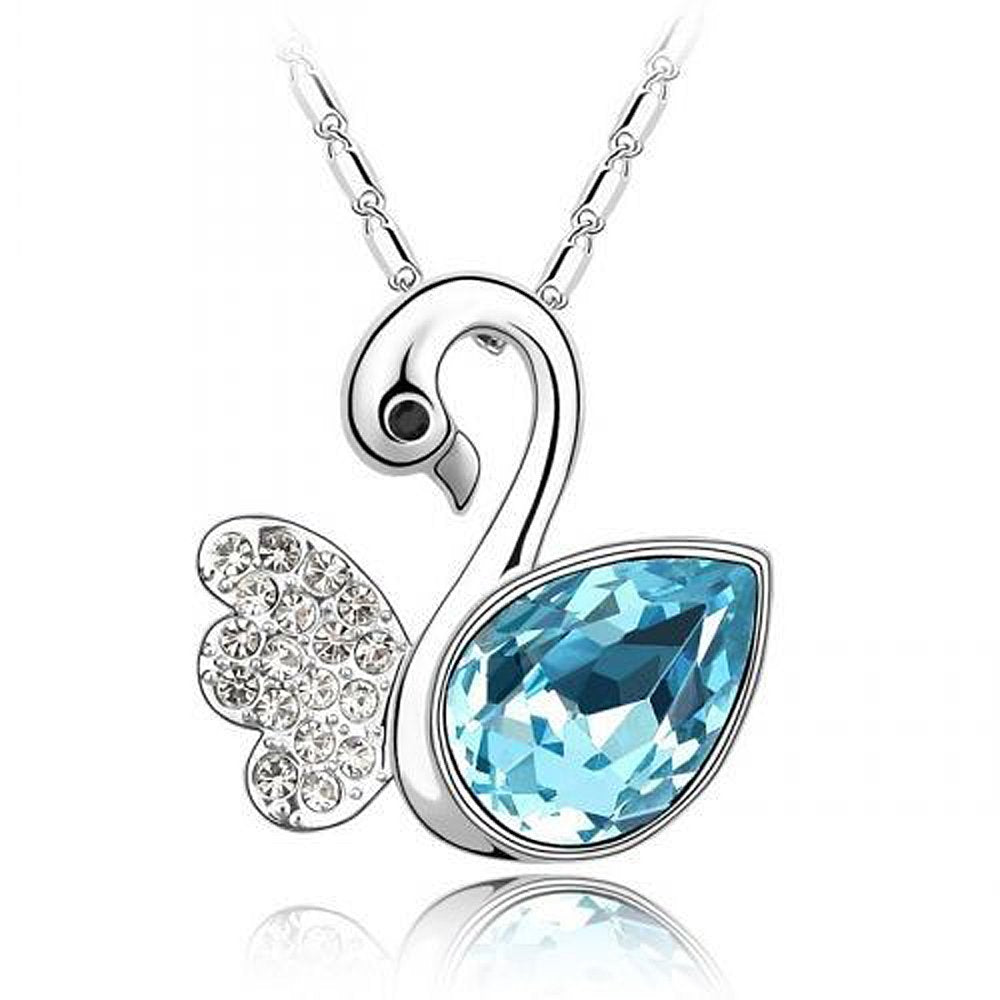 Sparkling Light Blue Colored and Clear Swan Charm Necklace 117 - New Wedding Rings