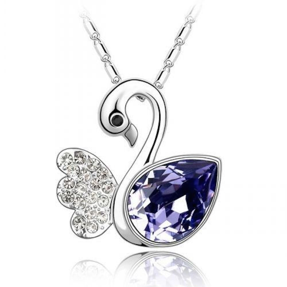 Sparkling Dark Purple Colored and Clear Swan Charm Necklace 162 - New Wedding Rings