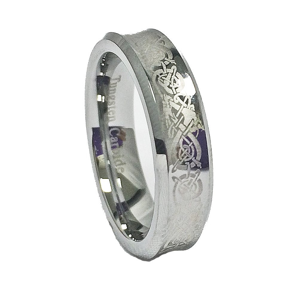 Unisex 6mm Concave Tungsten Carbide Wedding Band with Laser Etched Celtic Dragon Design Size 9 - New Wedding Rings