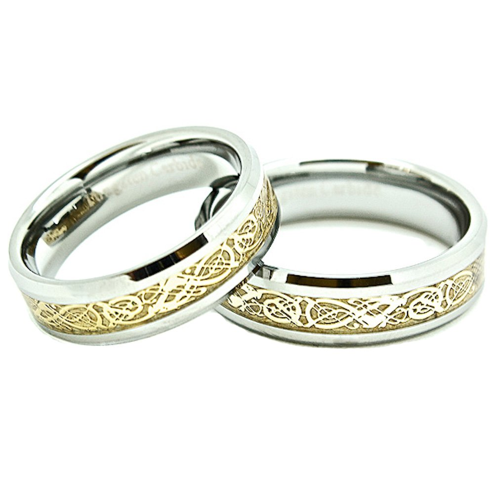 Matching 6mm Tungsten Golden Colored Celtic Dragon Inlay Wedding Rings SET (Check Listing for Sizes) - New Wedding Rings
