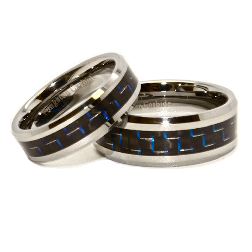 Matching 6mm & 8mm Blue & Black Carbon Fiber Inlay Tungsten Wedding Rings (See listing for sizes) - New Wedding Rings