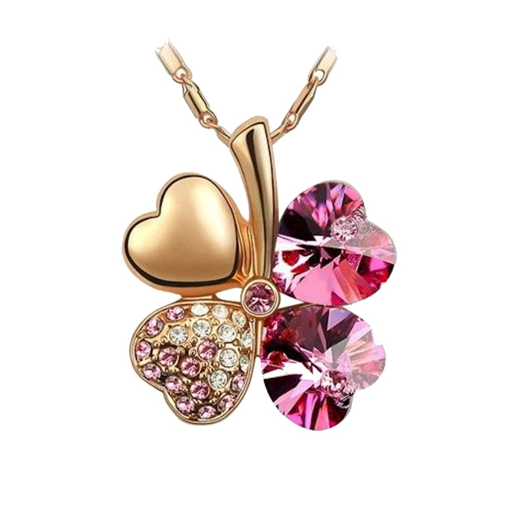 Sparkling Pink Colored Heart Shaped Clover Charm Necklace 206 - New Wedding Rings