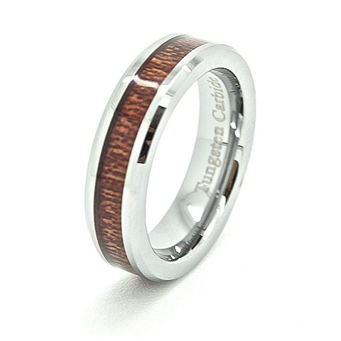 5mm Wood Grain tungsten Wedding Band Wood Inlaid Tungsten Wedding Band - New Wedding Rings