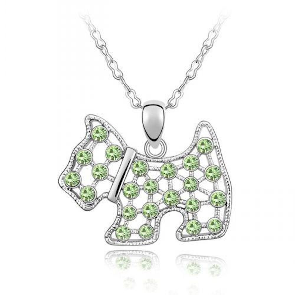 Sparkling Green Colored Dog Charm Necklace 161 - New Wedding Rings