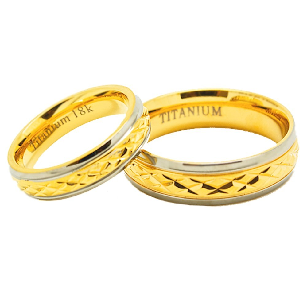 Matching 5mm & 6mm Golden Colored Middle Facet Titanium Wedding Rings (See listing for sizes) - New Wedding Rings