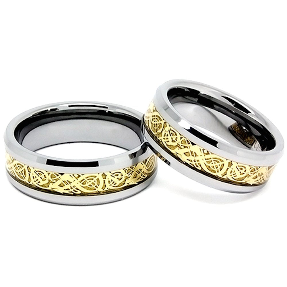 Matching 8mm Golden Colored Celtic Dragon Inlay Polished Tungsten Wedding Rings (See Listing for Sizes) - New Wedding Rings