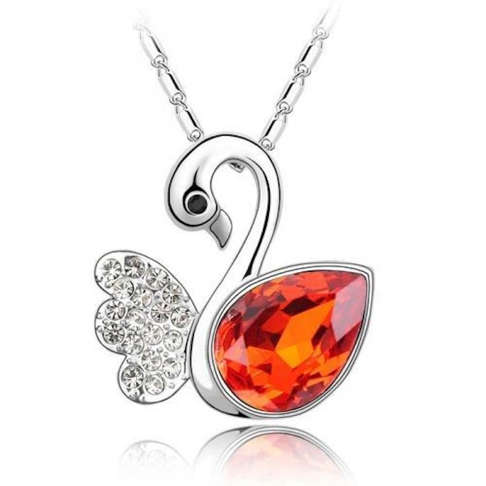 Sparkling Red Colored and Clear Swan Charm Necklace 164 - New Wedding Rings