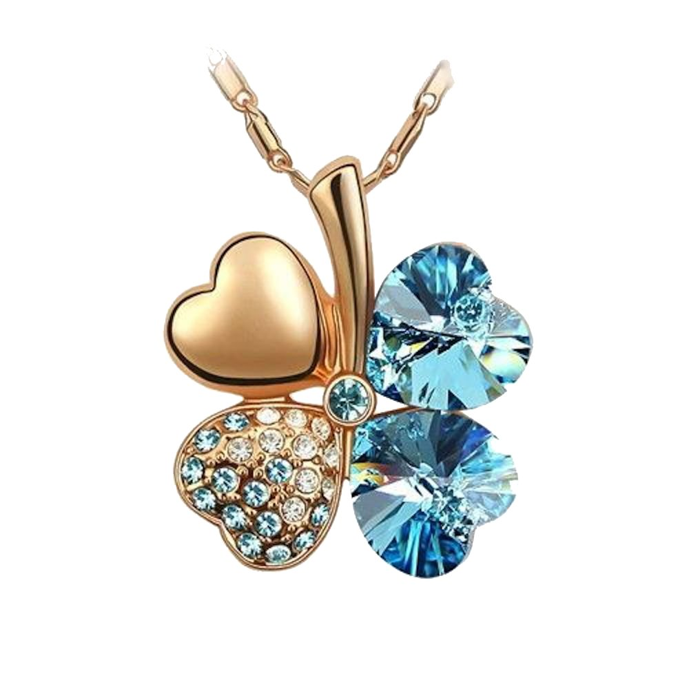 Sparkling Light Blue Colored Heart Shaped Clover Charm Necklace 205 - New Wedding Rings