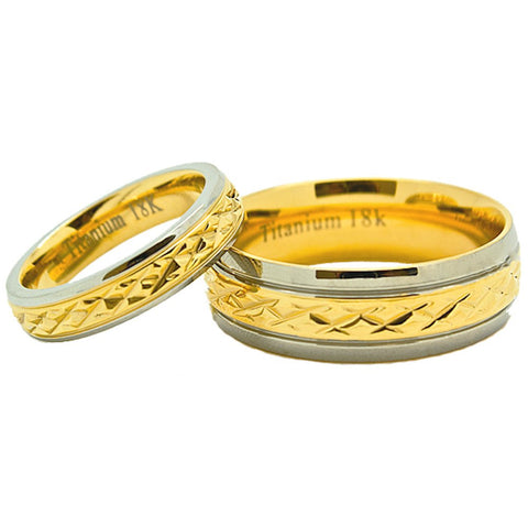 Matching 18k Solid Gold 4mm & 7mm Golden Colored Middle Facet Titanium Wedding Rings (Check listing for sizes) - New Wedding Rings