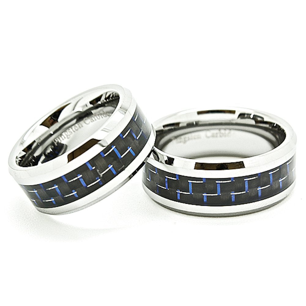 Matching 9mm Tungsten Wedding Rings with Blue & Black Carbon Fiber Inlays (Us Sizes 7-15) - New Wedding Rings