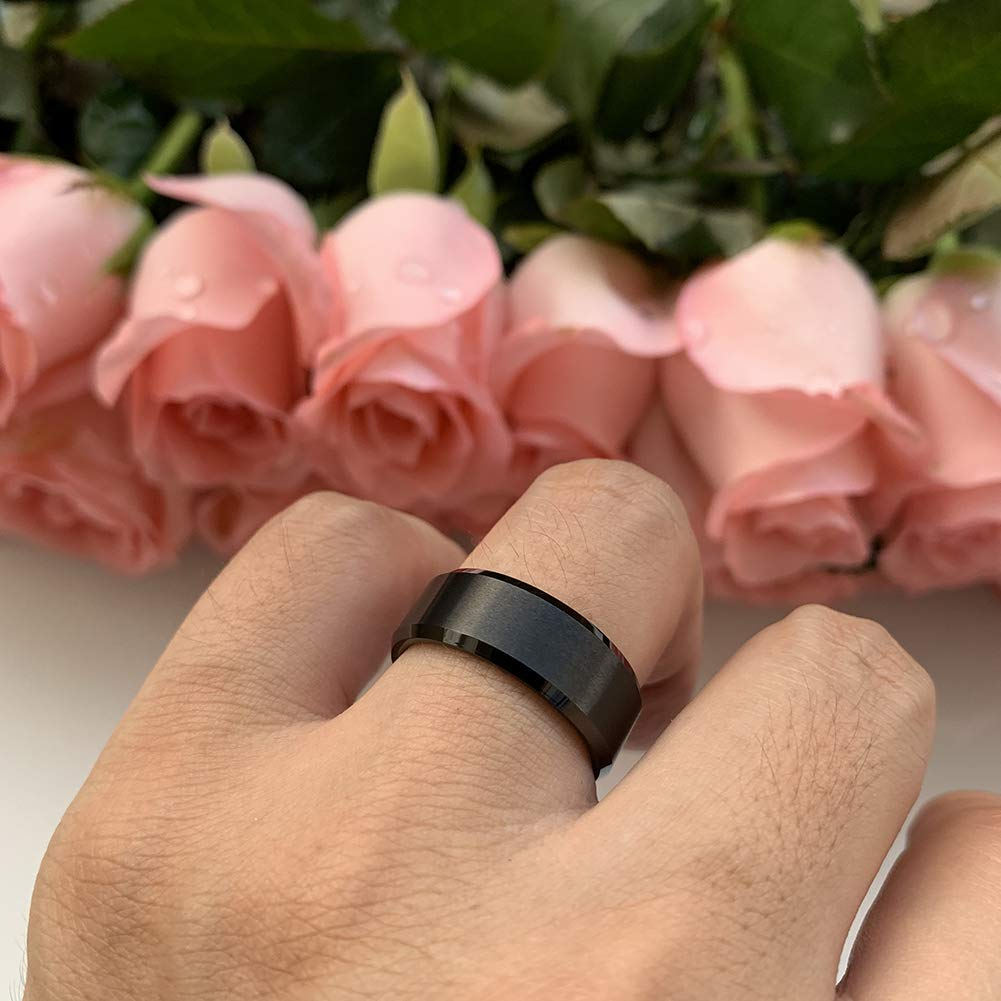 8mm Black Tungsten Rings for Men Women Wedding Bands Matte Finish Beveled Edges Comfort Fit - New Wedding Rings