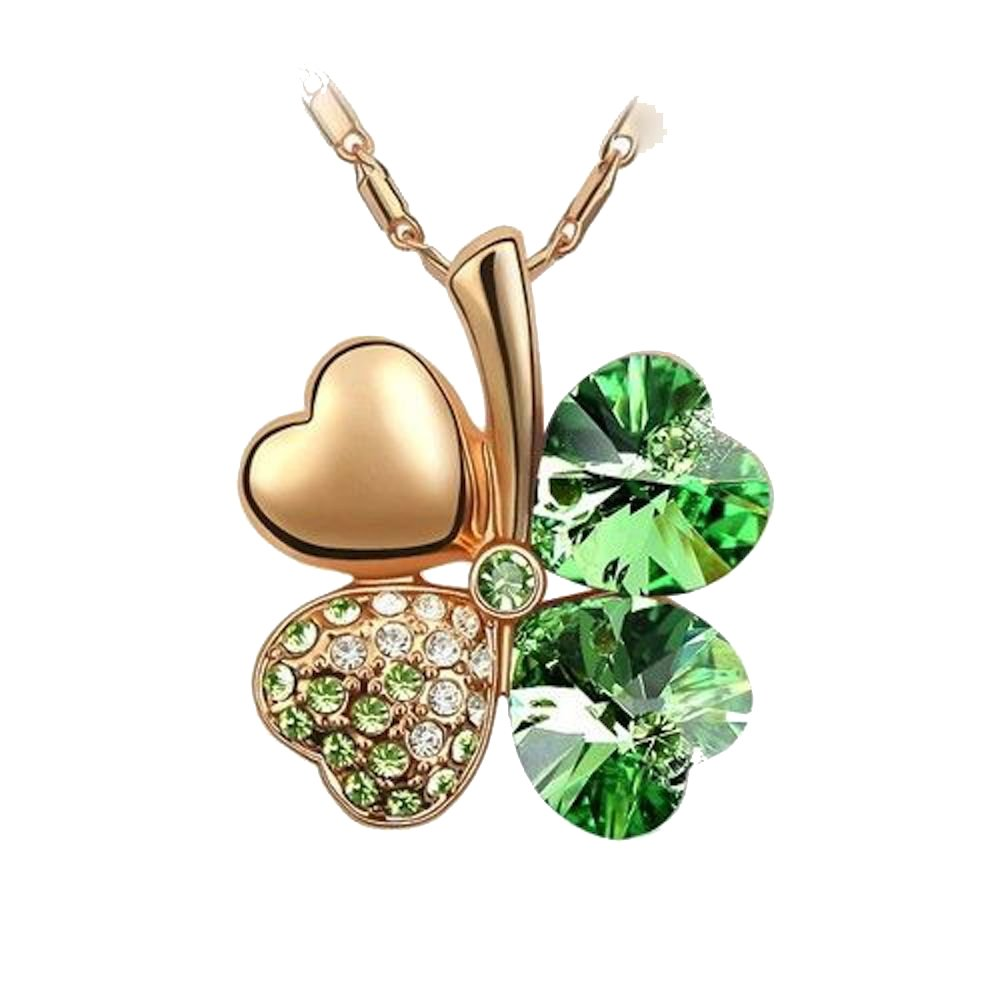 Sparkling Green Colored Heart Shaped Clover Charm Neckace 210 - New Wedding Rings