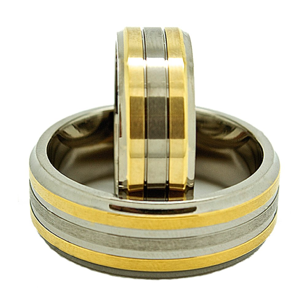 Matching 7mm & 8mm Titanium Wedding Rings with 2 Golden Colored Lines (See listing for sizes) - New Wedding Rings