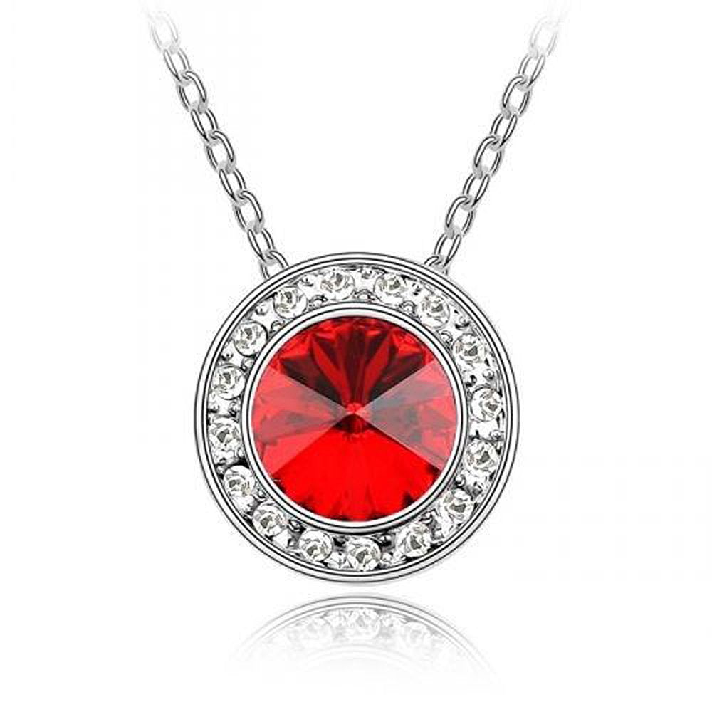 Sparkling Red Colored and Clear Circle Charm Necklace 133 - New Wedding Rings