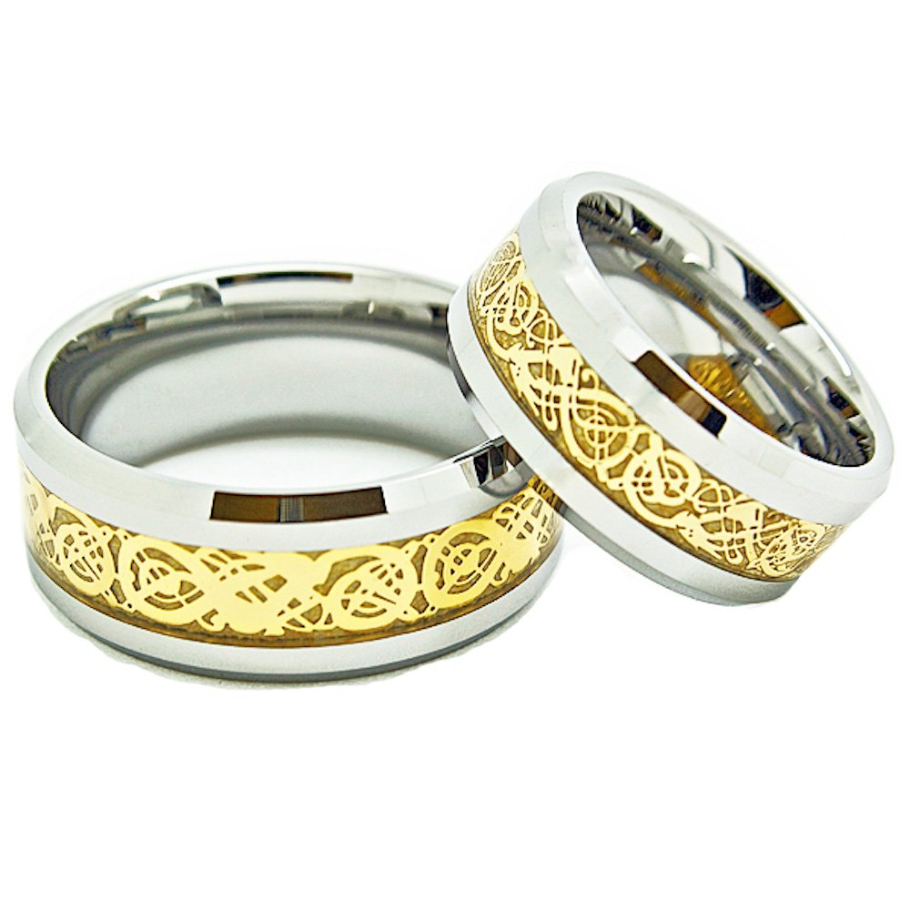 Matching 9mm & 10mm Tungsten Golden Colored Celtic Dragon Inlay Wedding Rings (See listing for sizes) - New Wedding Rings
