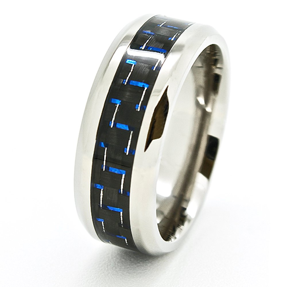8mm Designer Titanium Blue & Black Carbon Fiber Inlaid Wedding Band Size 4-15 - New Wedding Rings