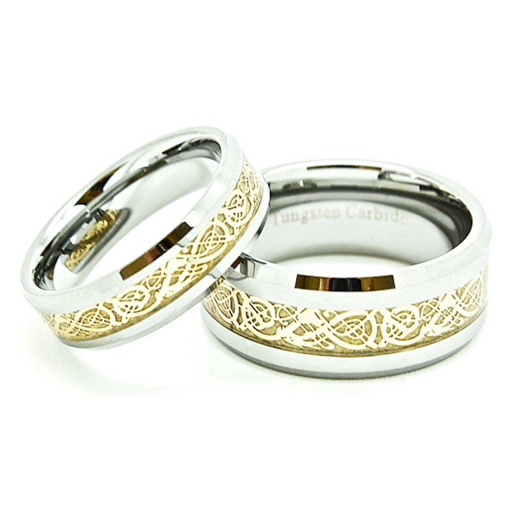 Matching 6mm & 9mm Tungsten Bands Golden Colored Celtic Dragon Inlay Wedding Rings sets (Check Listing for Sizes) - New Wedding Rings