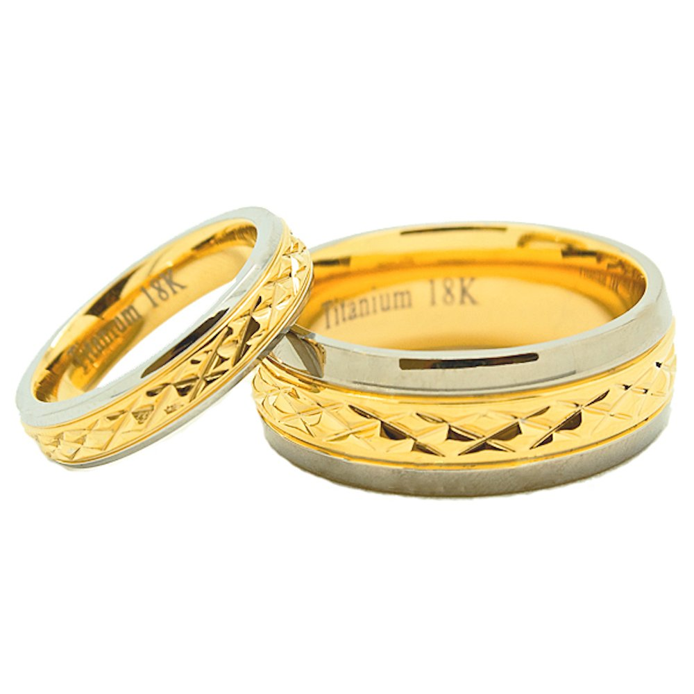 Matching 18k Gold 4mm & 8mm Golden Colored Middle Facet Titanium Wedding Rings (Check listing for sizes) - New Wedding Rings