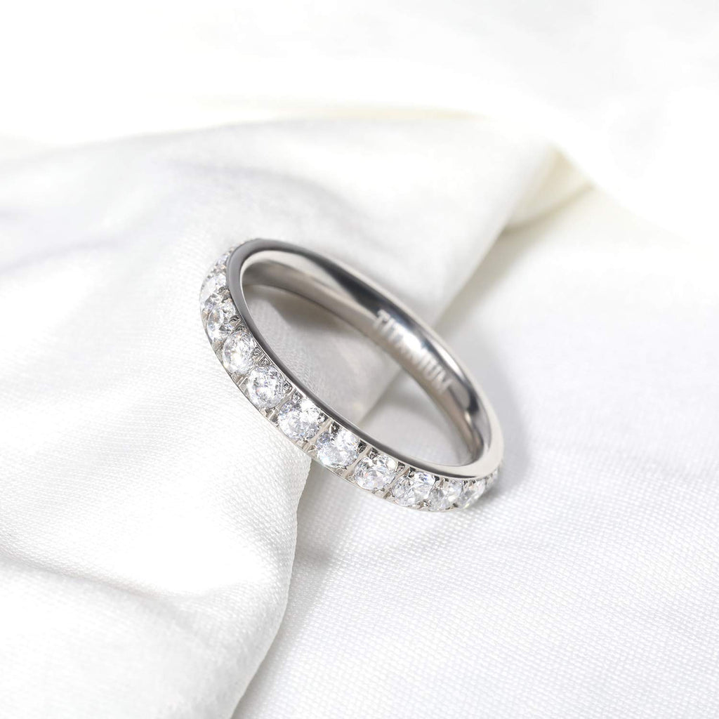 New Wedding Rings 3mm Women Titanium Engagement Ring Cubic Zirconia Eternity Wedding Band Size 3 to 13 - New Wedding Rings