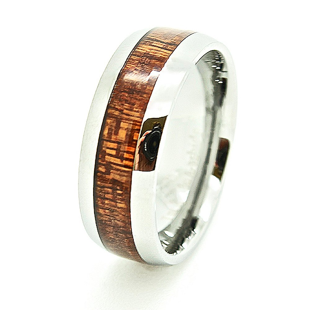 Matching 8mm Domed Tungsten Carbide Wedding Bands with Wood Grain Inlay Engagement Rings SET (Us Sizes 4-15) - New Wedding Rings